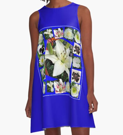 White Delight - Summer Flowers Collage A-Linien Kleid