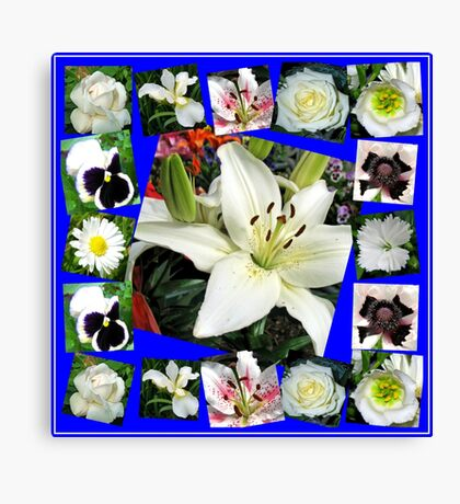 White Delight - Summer Flowers Collage Leinwanddruck