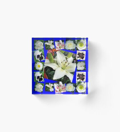 White Delight - Summer Flowers Collage Acrylblock