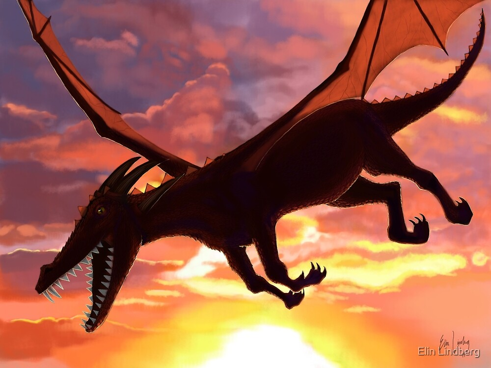 Soaring - Dragon Illustration by Elin Lindberg
