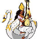 Saraswati Pixel Art by artkarthik