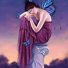 Sunset Blue Monarch Butterfly Fairy by Rachel Anderson