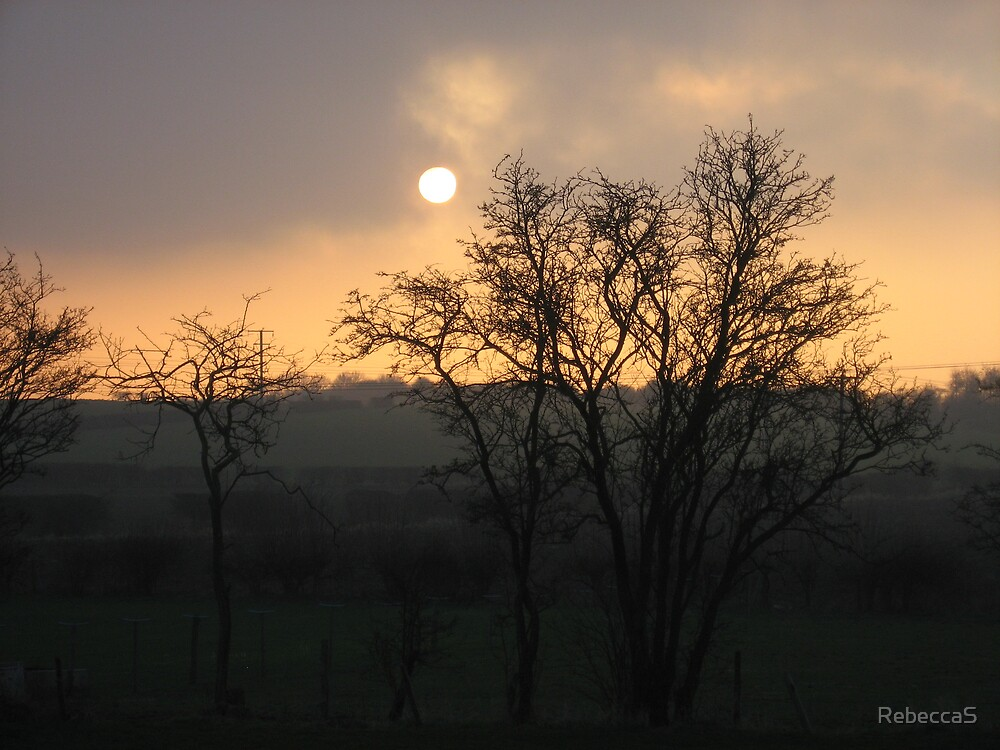 Sun set and Moon by RebeccaS