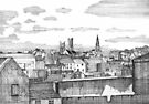 124 - ATHLONE FROM THE CASTLE - DAVE EDWARDS - INK - 1986 by BLYTHART