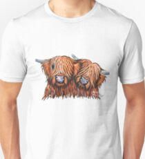 Scottish Highland Cows ' BUDDIES 2 ' by Shirley MacArthur Unisex T-Shirt