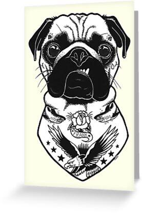 Tätowierter Hund - Mops von PaperTigressArt