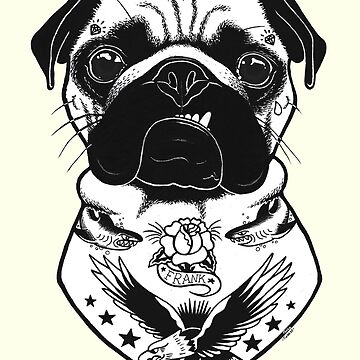 Tattooed Dog - Pug by PaperTigressArt