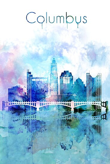 Columbus Skyline Art, US Cityscape by DimDom