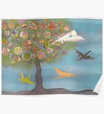 Boy in a Paper Plane flying into the World Map Tree Poster