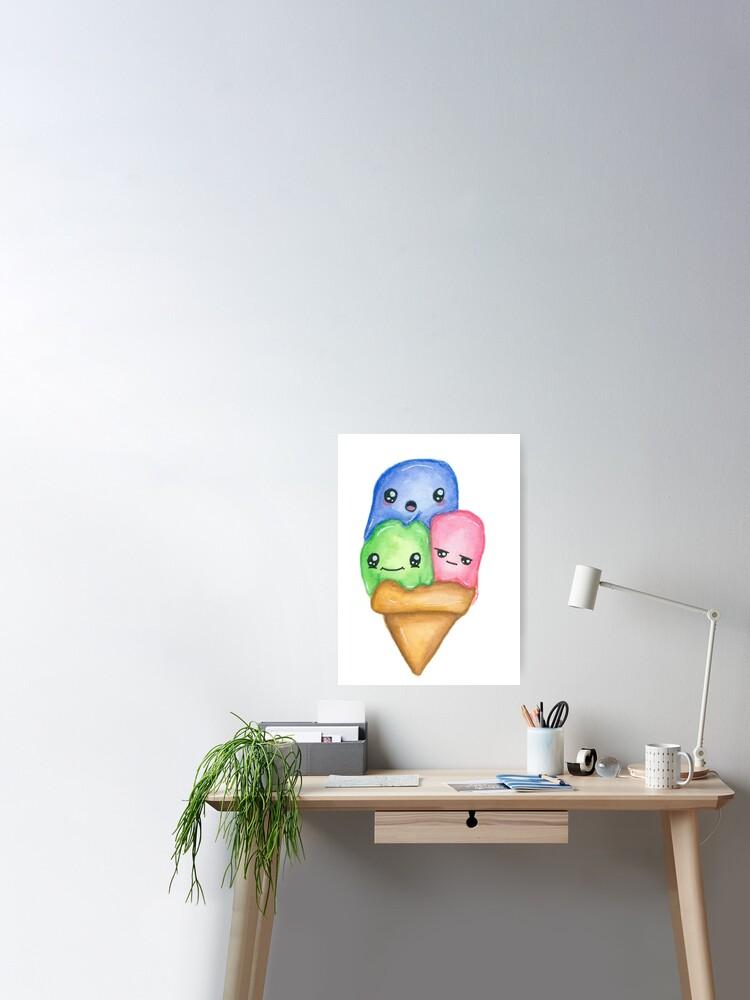 Cornet De Glace Mignon Nourriture Kawaii Avec Des Visages Poster
