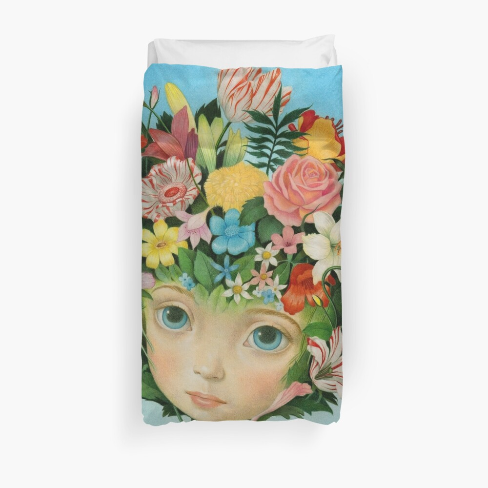 The Language of Flowers by Raul Guerra Duvet Cover