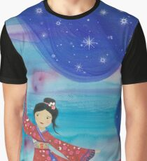 Japanese geisha in kimono with flying lanterns in the sky Graphic T-Shirt