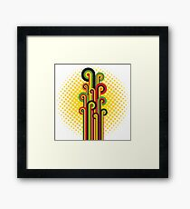 Retro Abstract Floral Framed Print