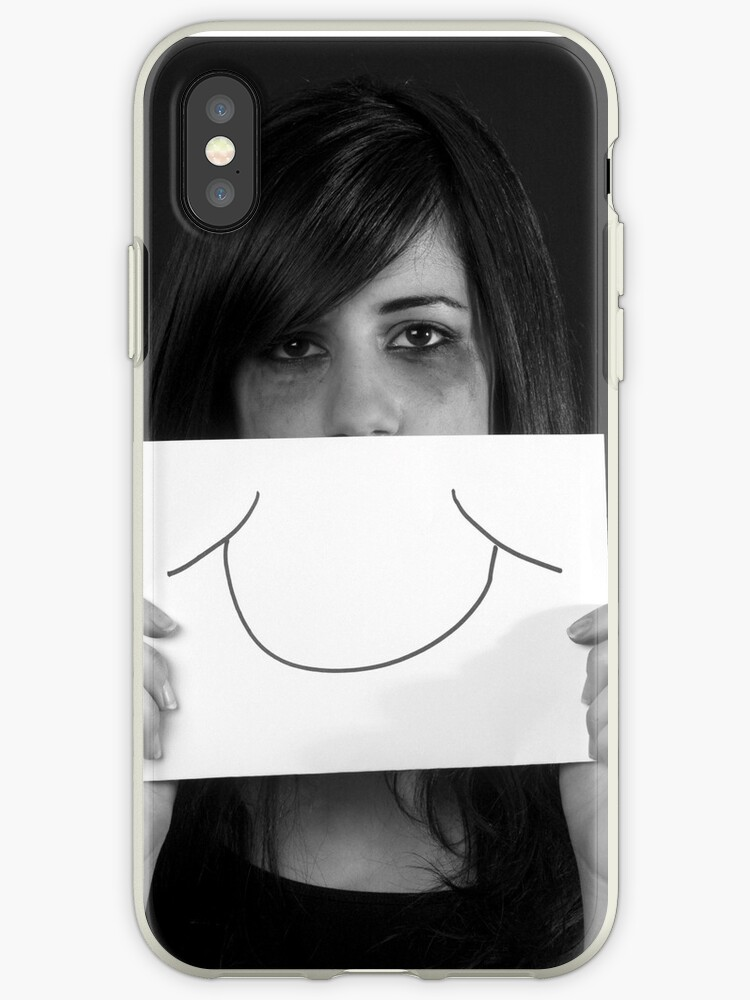 Forced smile female teen with a fake smile on her mouth  by PhotoStock-Isra