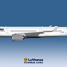 Illustration of Lufthansa Airbus A350 by © Steve H Clark