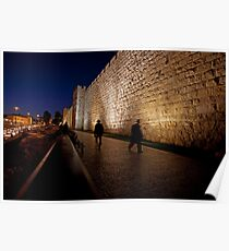 Jerusalem, Old City. The illuminated walls at night  Poster