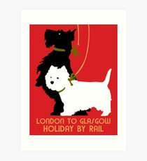 Retro London and Glasgow by train, dogs terriers  Art Print