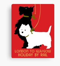 Retro London and Glasgow by train, dogs terriers  Canvas Print