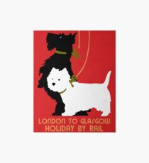 Retro London and Glasgow by train, dogs terriers  Art Board
