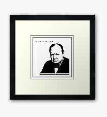 Silhouette portrait Winston Churchill Framed Print