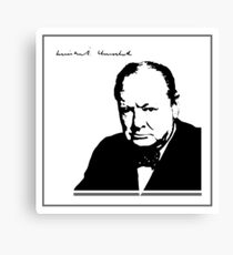 Silhouette portrait Winston Churchill Canvas Print
