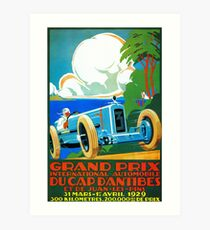 Classic cars motor racing Grand Prix French Riviera 1929  Art Print