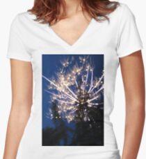 Firework Long Exposure Women's Fitted V-Neck T-Shirt