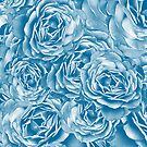 Passion Roses Random Pattern in Blue by ZedEx