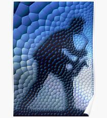 Saxophonist in mosaic (blue) Poster
