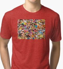 Collage of 90's and 2000's cartoons from Nickelodeon, Disney Channel, Cartoon Network, Jetix, Disney XD, and more Tri-blend T-Shirt