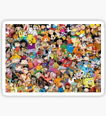 Collage of 90's and 2000's cartoons from Nickelodeon, Disney Channel, Cartoon Network, and more Sticker