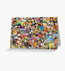 Collage of 90's and 2000's cartoons from Nickelodeon, Disney Channel, Cartoon Network, and more Greeting Card
