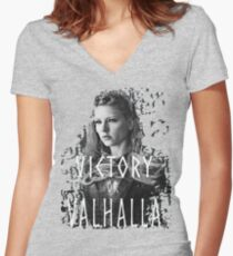 Lagertha: victory or Valhalla! Women's Fitted V-Neck T-Shirt