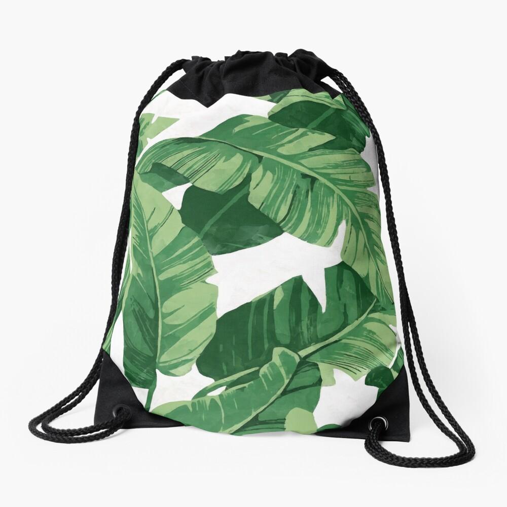 Tropical banana leaves II Drawstring Bag