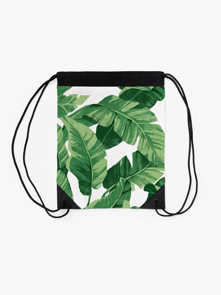 Alternate view of Tropical banana leaves II Drawstring Bag
