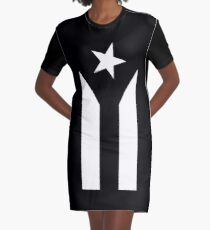 Puerto Rico Black & White Protest Flag Graphic T-Shirt Dress