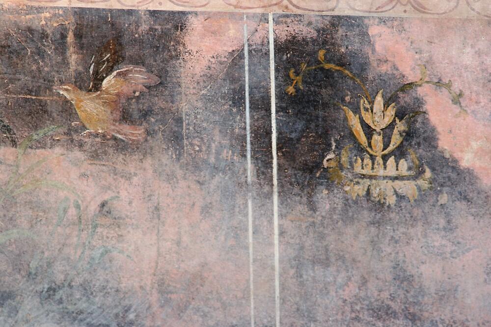 pompeii fresco with bird by kristana
