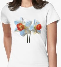 Two White and Orange Daffodils Womens Fitted T-Shirt