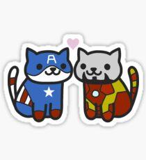 Cat-ain America & Iron Meow Sticker