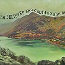 Llyn Peris Slate Quarry View to Snowdon in Clouds by Yvie Johnson