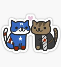Cat-ain America & Bucky Yarns Sticker