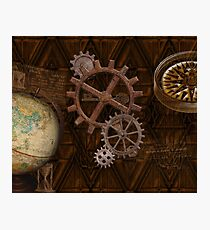 Steampunk Gears on Coppery-look Geometric Design Photographic Print