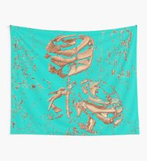 Vintage roses on the turquoise wall Wall Tapestry