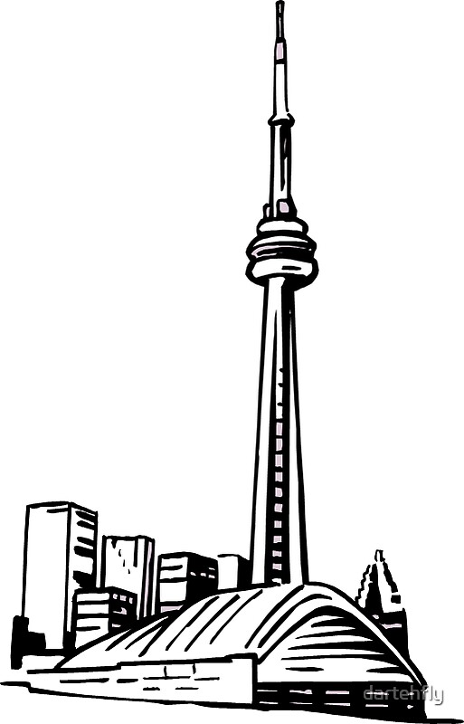 toronto skyline sketch stickers by dartehfly redbubble. Black Bedroom Furniture Sets. Home Design Ideas