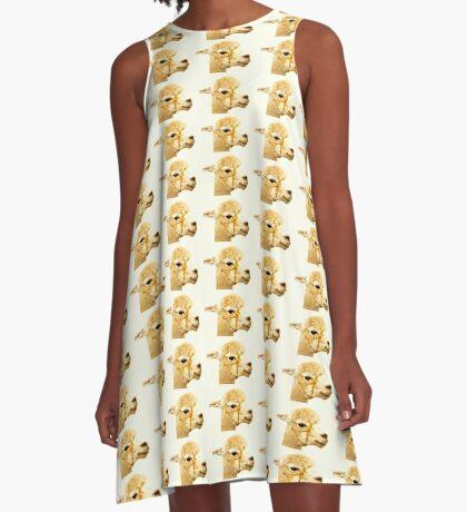 Porträt eines Alpakas A-Linien Kleid
