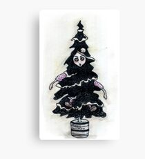 Black Xmas Tree Canvas Print