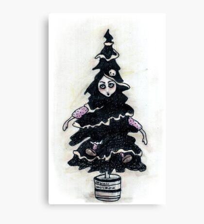 Black Xmas Tree Canvas Print