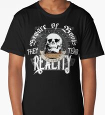 Beware Of Books They Tend To Change Reality - Cool Funny Book Lover Vintage Book Readers And Skull Fantasy T-Shirts And Gifts  Long T-Shirt