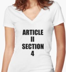 Impeach Trump Article 2 Section 4! Women's Fitted V-Neck T-Shirt