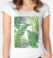 Green tropical leaves Women's Fitted Scoop T-Shirt